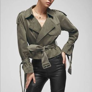 Anine Bing • Aria Cropped Trench Coat Green XS